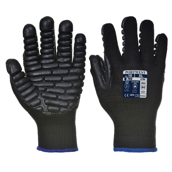 Portwest Black Anti-Vibration Jack Hammer Gloves A790