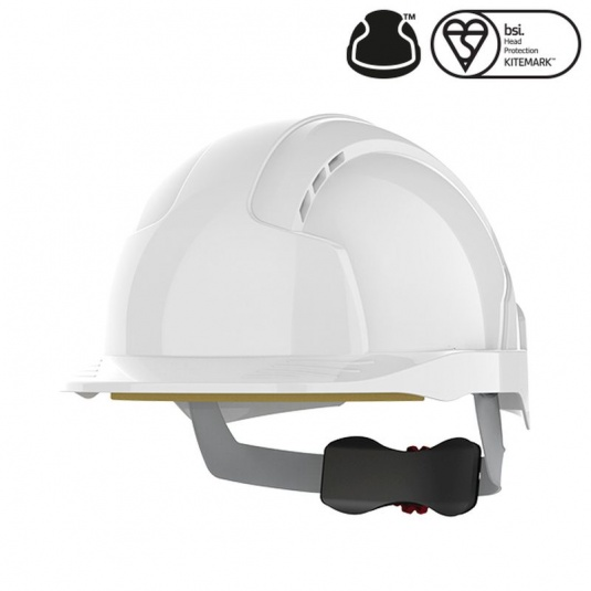 JSP EVOlite White Vented Helmet with Wheel Ratchet