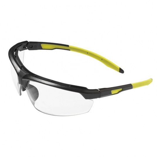 JSP Lyss Black/Yellow Frame Fluorescent Temples Safety Glasses