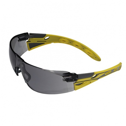 JSP Eiger Neon Yellow & Grey Frame Smoke Lens Safety Glasses