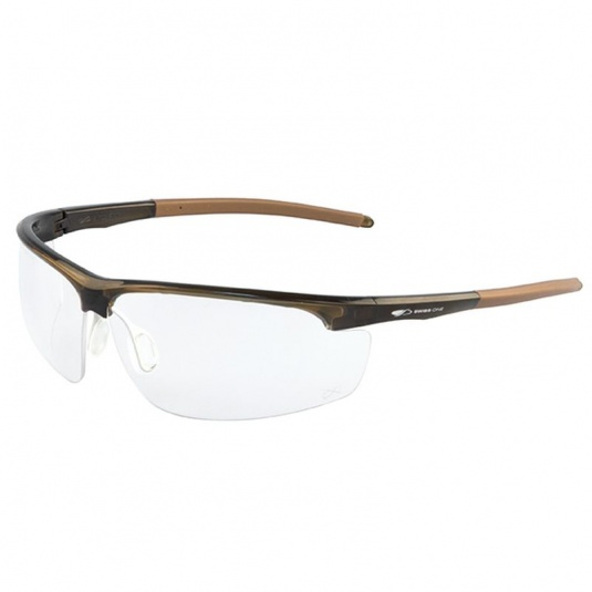 JSP Leone Brown Frame Clear Lens Safety Glasses
