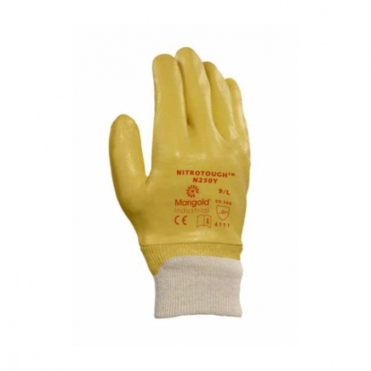 Ansell Marigold Nitrotough N250Y Nitrile-Coated Utility Gloves