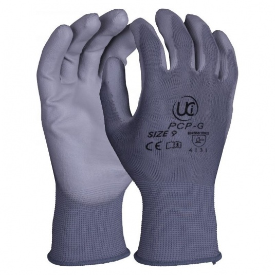 UCi Grey PU-Coated Precision Handling Gloves PCP-G