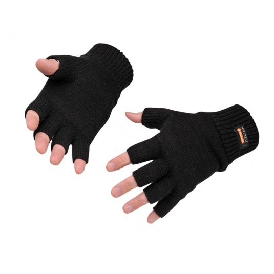 Portwest GL14 Black Fingerless Knit Insulatex Gloves