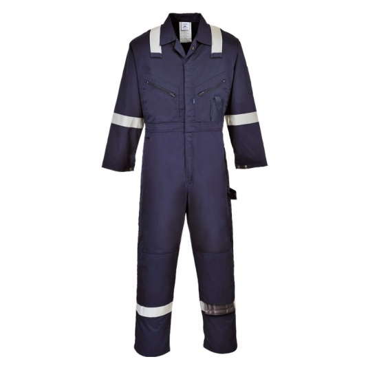 Portwest C814 Navy Iona Cotton Coveralls with Reflective Stripes