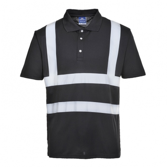 Portwest F477 Black Iona Work Shirt with Reflective Tape
