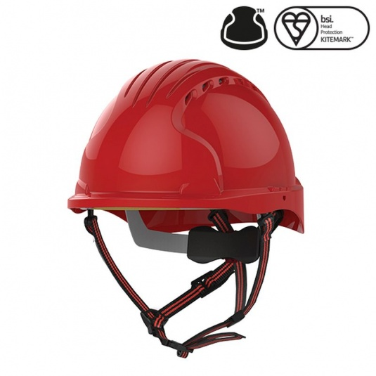JSP EVO5 Dualswitch Red Vented Industrial Climbing Safety Helmet