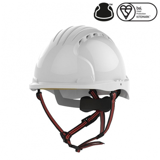 JSP EVO5 Dualswitch White Vented Industrial Climbing Safety Helmet