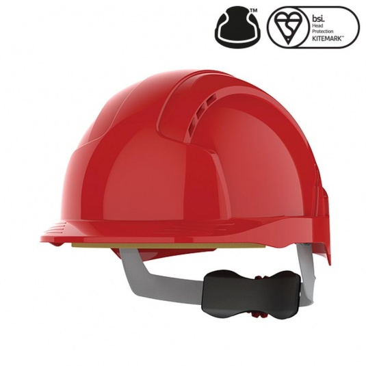 JSP EVOlite Red Vented Helmet with Wheel Ratchet