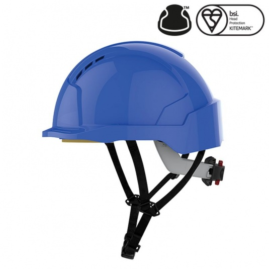 JSP EVOlite Blue Micro Peak Vented Helmet with Linesman Wheel Ratchet