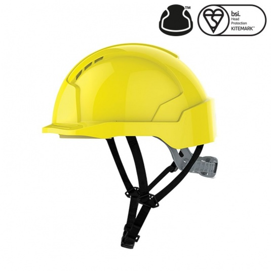 JSP EVOlite Yellow Electrical Safety Micro Peak Helmet with Linesman Slip Ratchet
