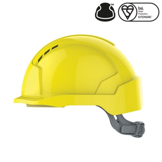 JSP EVOlite Yellow Vented Micro Peak Helmet with Slip Ratchet
