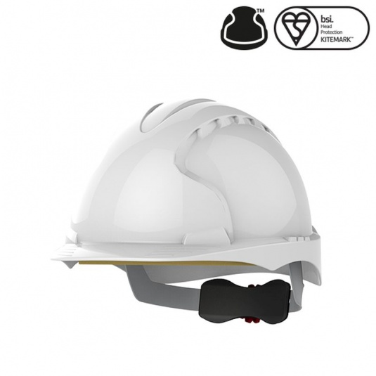 JSP EVO3 White Electrical Safety Helmet with Wheel Ratchet