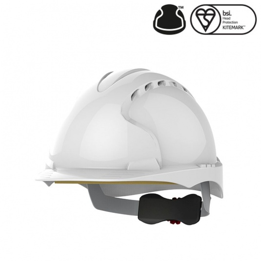 JSP EVO3 White Vented Industrial Safety Helmet with Wheel Ratchet