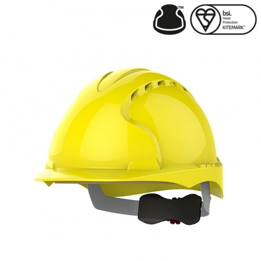 JSP EVO3 Yellow Vented Industrial Safety Helmet with Wheel Ratchet