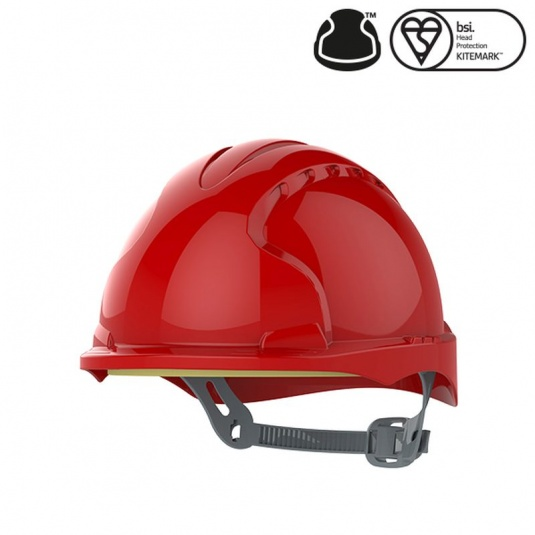 JSP EVO3 Red Electrical Micro Peak Hard Hat with Slip Ratchet