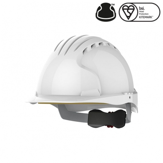 JSP EVO5 Olympus White Vented Industrial Safety Helmet with Wheel Ratchet
