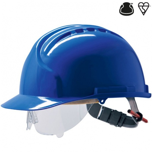 JSP MK7 Blue Electrical Safety Helmet with Visor