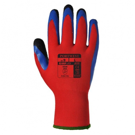 Portwest A175R4 Duo-Flex Double Latex Dipped Red and Blue Gloves