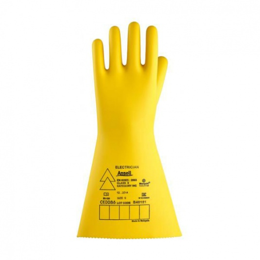 Ansell E022B Electrician Class 2 Long Black Insulating Rubber Gloves