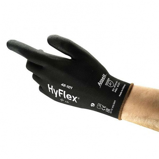 Ansell HyFlex 48-101 Black PU-Palm Light Utility Gloves