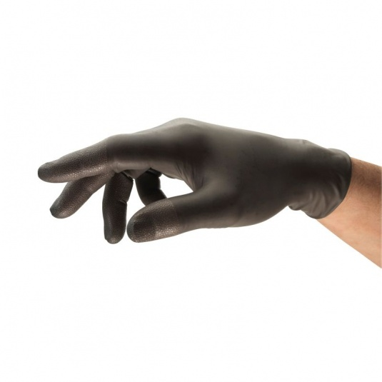 Ansell 93-250 Disposable Black Long-Cuff Nitrile Gloves