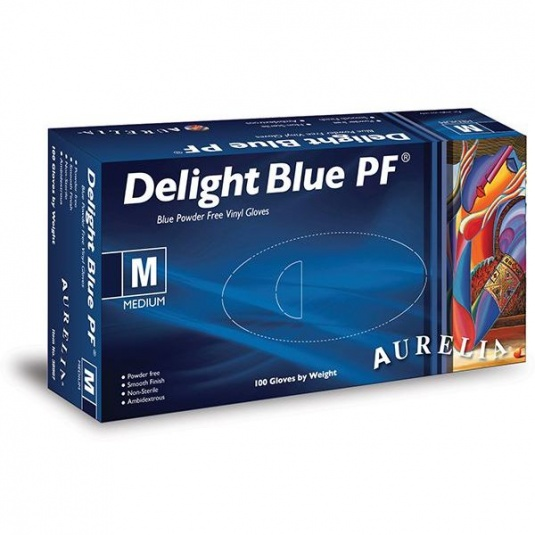 Aurelia Delight Blue PF 38995-9 Powder-Free Vinyl Gloves