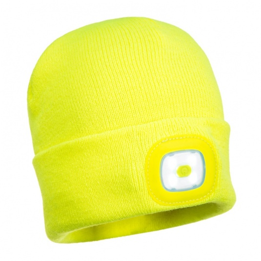 Portwest B028 Rechargeable Yellow Twin LED Beanie