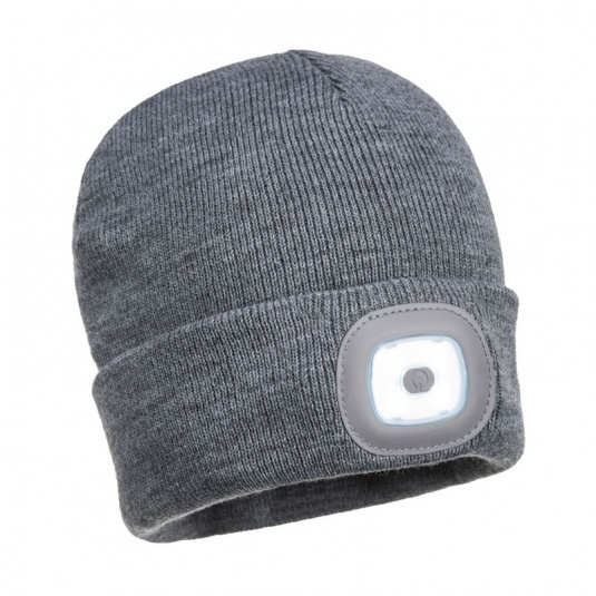 Portwest B029 Grey Beanie with Rechargeable LED Light