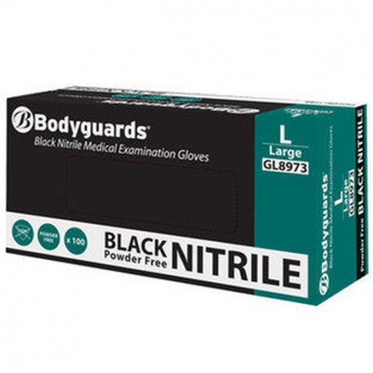 Polyco Bodyguards GL897 Black Nitrile Powder-Free Disposable Gloves
