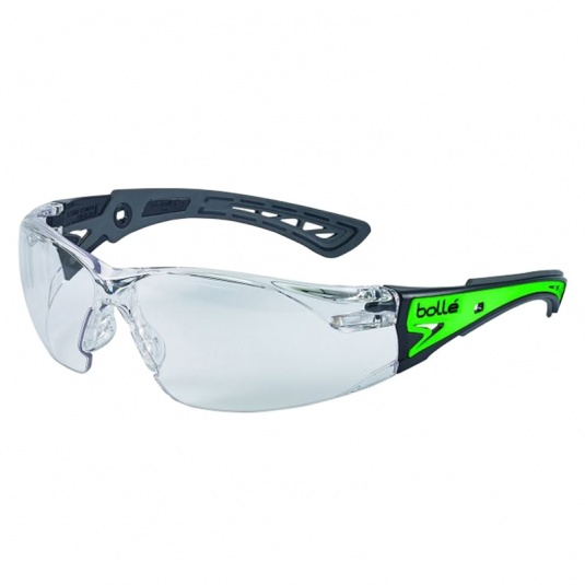 Bollé Rush+ Phosphorescent Temples Clear Safety Glasses RUSHPGLO