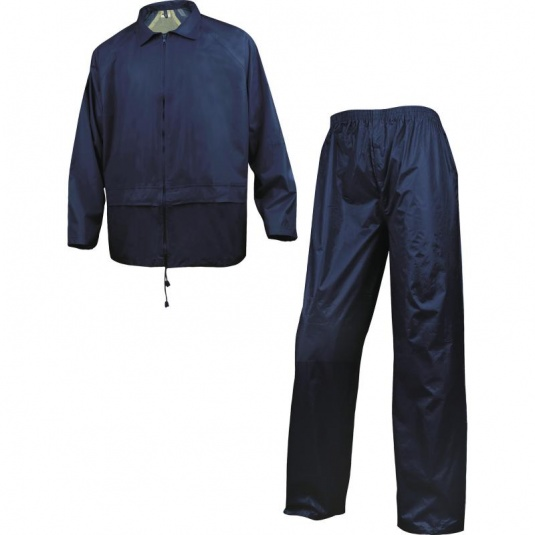 Delta Plus 400 Navy Blue Waterproof Rainsuit with Pockets