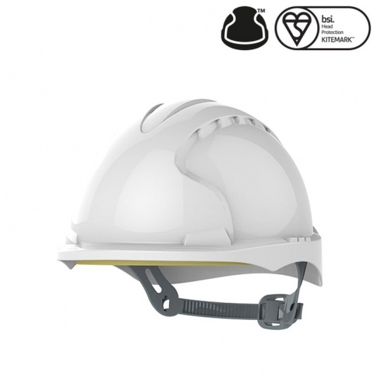 JSP EVO3 White Electrical Micro Peak Hard Hat with Slip Ratchet