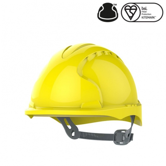 JSP EVO3 Yellow Electrical Micro Peak Hard Hat with Slip Ratchet