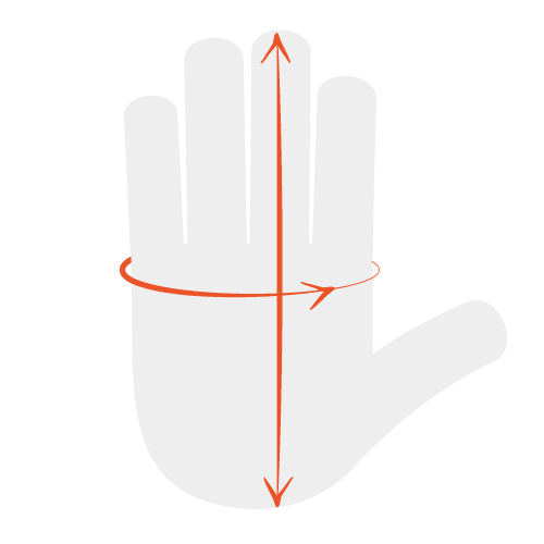 Measure the width of your palm and the length of your hand