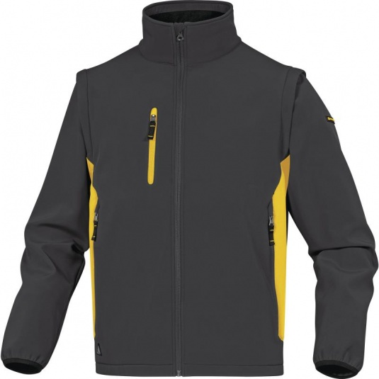 Delta Plus MYSEN2 Grey and Yellow Softshell Jacket with Removable Sleeves