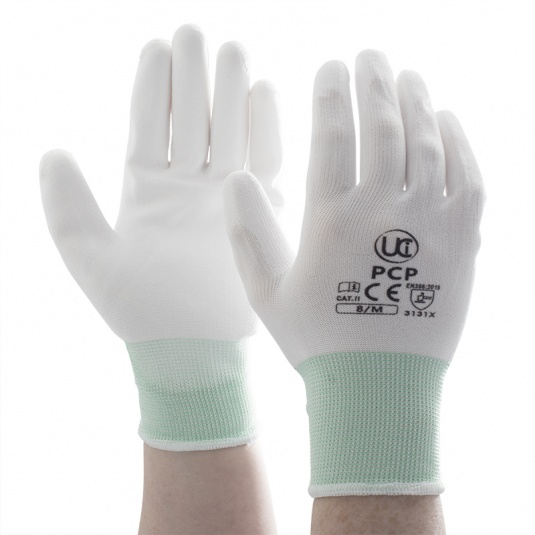 UCi White PU Coated Precision Handling Gloves PCP-WH