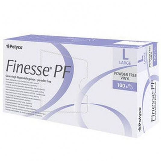 Polyco Finesse Clear Vinyl Powder-Free Disposable Gloves MPF25 (Case of 1000 Gloves)