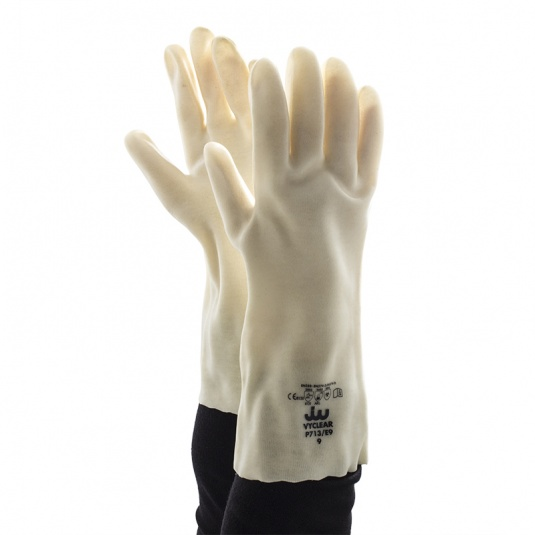 Polyco Vyclear Clear Chemical-Resistant Dipped PVC Gauntlet Gloves P713