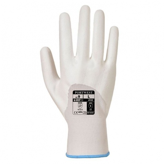 Portwest A122WH 3/4 PU Dipped Pylon Lined White Gloves