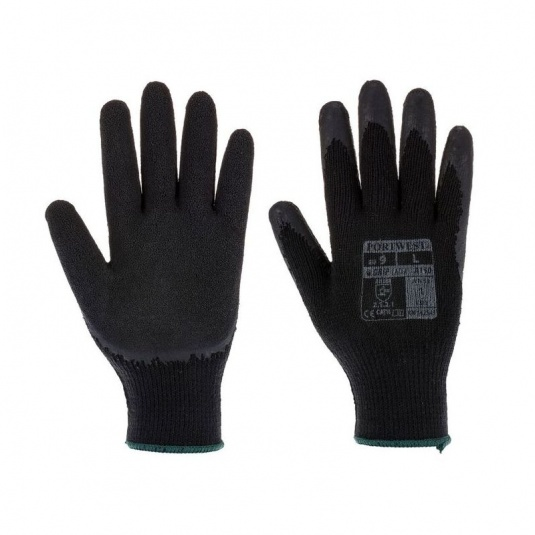 Portwest A140K8 Thermal Latex Palm-Coated Black Gloves