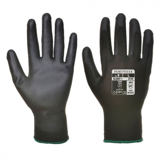 Portwest A120BK PU Palm-Coated All-Round Black Gloves