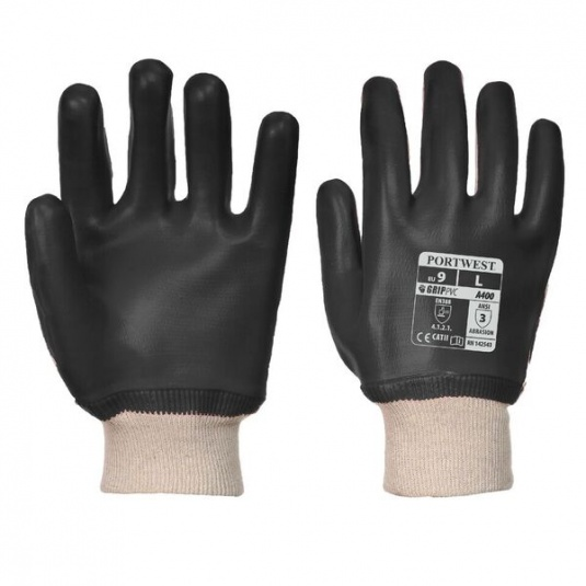 Portwest A400BK PVC Fully Coated Oil-Resistant Black Gloves