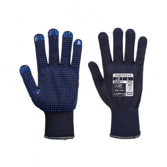 Portwest A110NA PVC Dot Palm Grip Navy Gloves