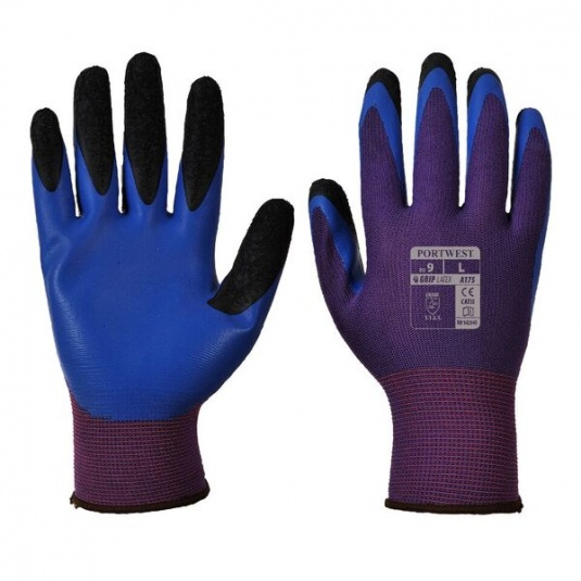 Portwest A175U4 Duo-Flex Double Latex Dipped Purple and Blue Gloves