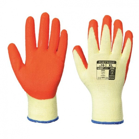 Portwest A100OR Latex Palm Grip Orange Gloves