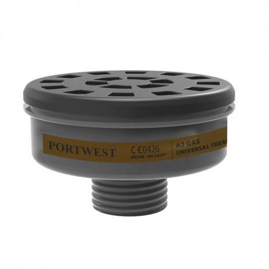 Portwest A2 Gas Filter Universal Tread P906BKR (Pack of 6 Filters)