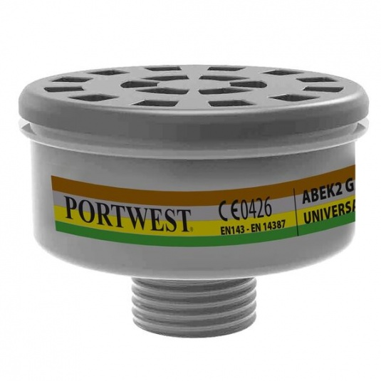Portwest ABEK2 Gas Filter with Universal Tread P926BKR (Pack of 4 Filters)