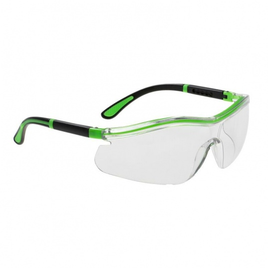 Portwest Neon Wraparound Clear Safety Glasses PS34CLR