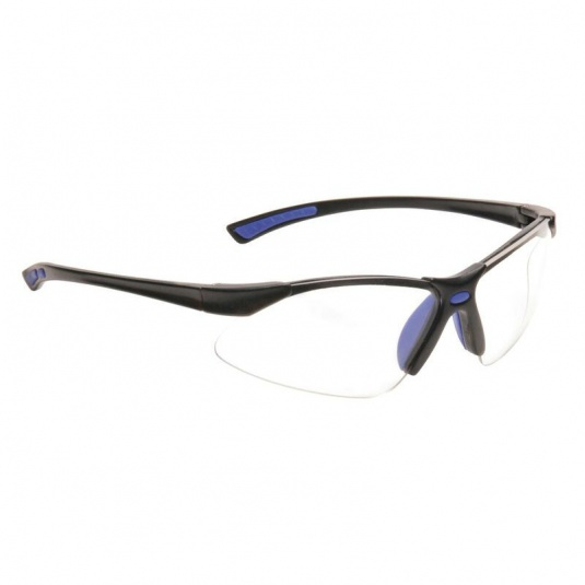 Portwest Clear Lens Bold Pro Safety Glasses with Blue Temples PW37BLU
